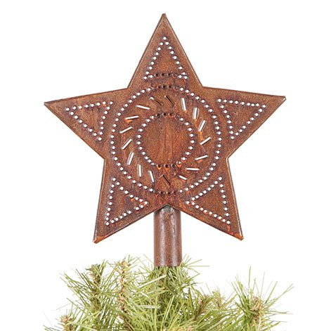 Star Tree Topper in Rustic Tin by Irvin's Country Tinware