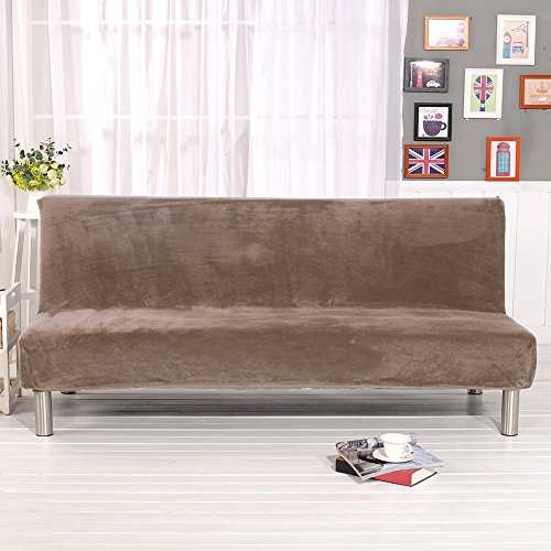 Younar Solid Color Armless Futon Sofa Bed Cover Full Size Thicker Plush Sofa Cover Protector Sofa Slipcover - Futon Cover Camel