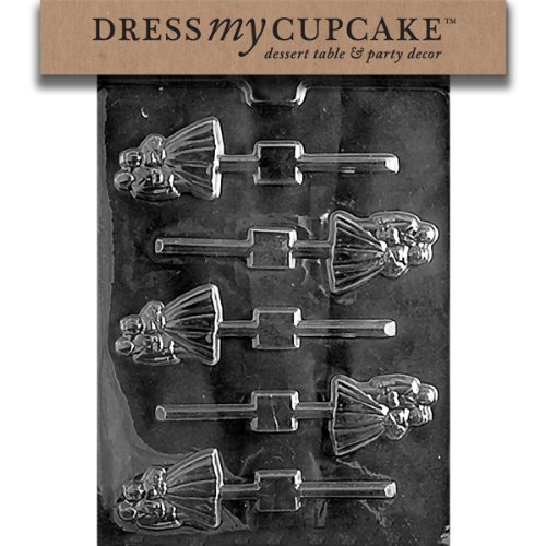 Dress My Cupcake DMCW024 Chocolate Candy Mold, Bride and Groom Lollipop, Wedding Bride And Groom Candy Molds