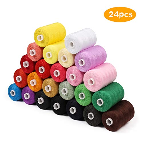 Better Chance Sewing Threads Kit for Sewing Machine & Hand, 1000 Yards per Polyester Thread Spools, 24 Colors