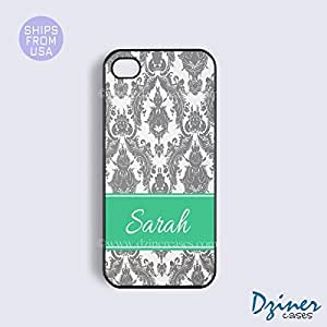 Monogrammed iPhone 5c Case - Grey Damask Green Stripe iPhone Cover