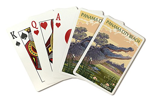 Panama City Beach, Florida - Alligator and Baby (Playing Card Deck - 52 Card Poker Size with Jokers)