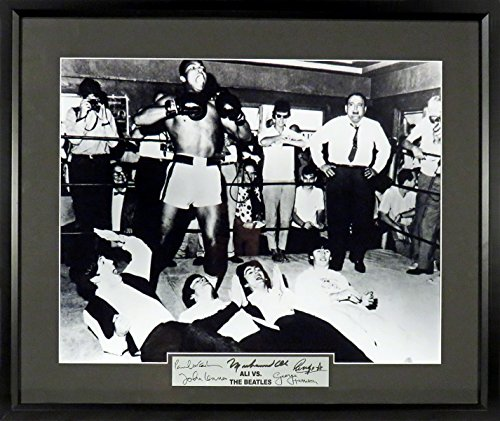 Muhammad Ali vs. The Beatles 16x20 Photograph (SG Signature Engraved Plate Series) Framed from Sports Gallery Authenticated