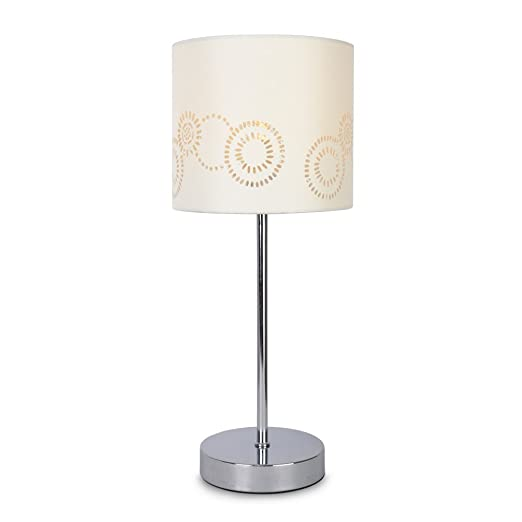 Modern silver chrome touch table lamp with a laser cut pattern cream modern silver chrome touch table lamp with a laser cut pattern cream shade aloadofball Gallery
