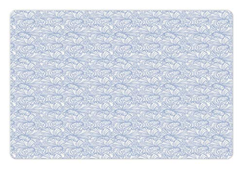 Ambesonne Art Nouveau Pet Mat for Food and Water, Vintage Pastel Toned Iris Blooms Flourishing Beauty Mother Earth Theme, Rectangle Non-Slip Rubber Mat for Dogs and Cats, Baby Blue White