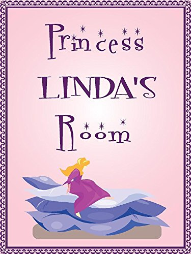 "ANY AND ALL GRAPHICS Princess Linda Room Pink Design 9""x12"" Plastic Novelty Girls Room décor Sign"