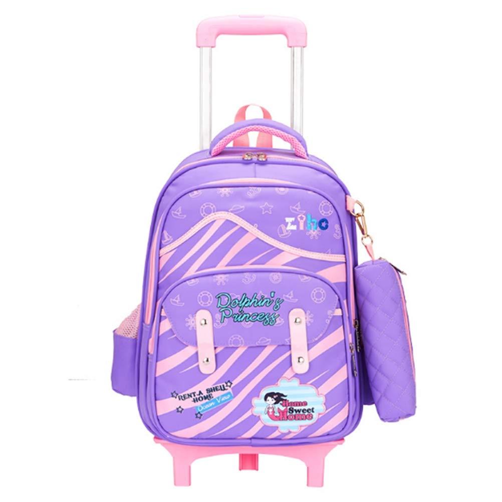 RRight  Schultrolley Schulranzen Wasserdichte 17 Zoll Six Wheels Rolling Backpack Trolley Schoolbag für Mädchen und Jungen,C