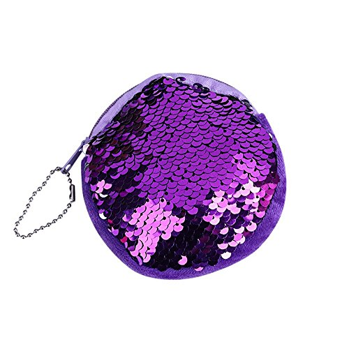 (Sequin Coin Purses for Women, Teen Girls Reversible Magic Flip Sequins Beaded Round Mini Pouch Wallets w/Key Chain (Purple, One Size))