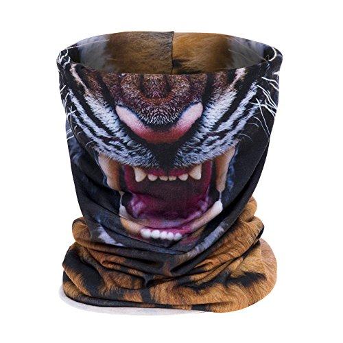 Aiyuda Neck Tube Motorcycle 3D All Over Print Bandana Neck Gaiter Thin Ski Mask Multifunctional Headwear Ear Warmer Headband Headwrap (Tiger)