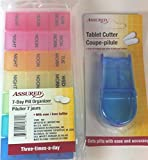 Bundle of 2 Medication Accessories: 1-7 Day (Am Noon Pm) Pill Organizer with Removable Sections, 1-pill Cutter