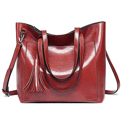 ALARION Women Top Handle Satchel Handbags Shoulder Bag Messenger Tote Bag Purse (Red3)