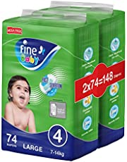 Fine Baby Fast Sorption, Size 4, Large, 7-14 kg, Mega Pack, 148 Diapers
