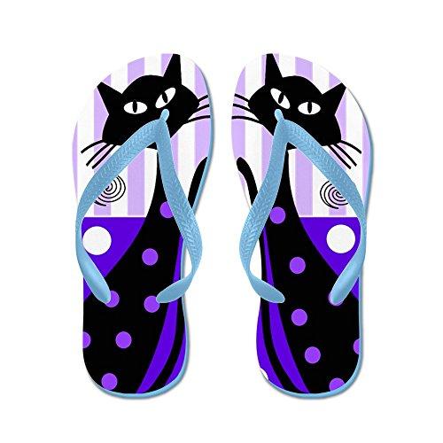 Cafepress Grillige Zwarte Katten - Flip Flops, Grappige String Sandalen, Strand Sandalen Caribbean Blue