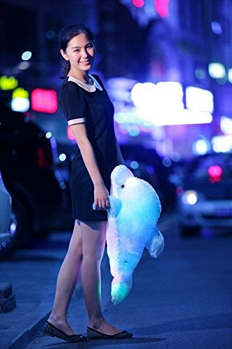VineCrown Creative Night Colorful LED Light Soft Toy Glowing Stuffed Dolphin Plush Toys Relax Cushion Pillow Kids Nursery Valentine Xmas Decoration Gifts Blue