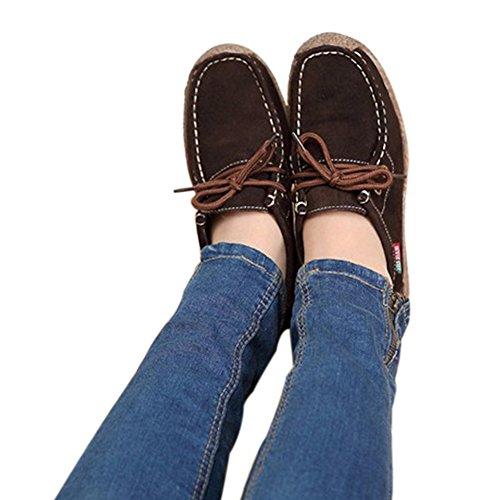 Temofon Womens Herfst Casual Lederen Sportschoenen Solide Lace Up Platte Mode Sneaker Koffie
