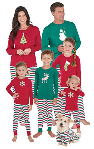 PajamaGram Holiday Stripe Matching Family Pajama Set, Toddler 5T, Red/Green (Christmas Sweaters Family)