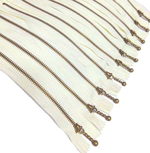 Metal Zippers 10 pcs - #3 Antique Brass Close-end, 6 Inch/15 cm, Ivory - by Beaulegan