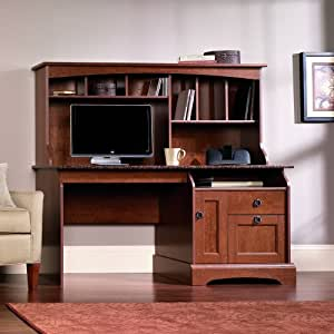 Sauder Graham Hill Computer Desk with Hutch in Autumn Maple Finish