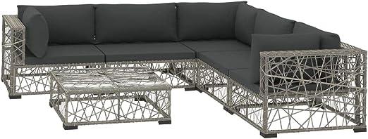 vidaXL Set de Muebles de Jardín 6 Piezas y Cojines Ratán Sintético Casa Hogar Terraza Piscina Parque Decoración Diseño Estilo Conjunto Mobiliario Gris: Amazon.es: Hogar