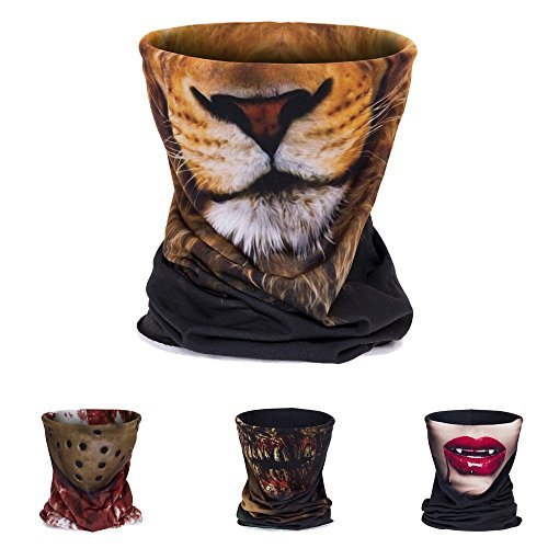 3D Printing Dust Mask bandana,Neck Tube Motorcycle Bandana Neck Gaiter Thin Ski Mask Multifunctional Headwear Ear Warmer Headband Headwrap (lion face) (Child Skull Teeth)