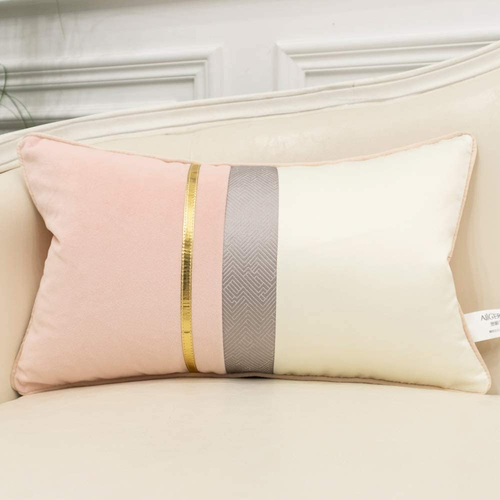 Avigers 12 x 20 Inches Pink White Gold Leather Striped Patchwork Velvet Cushion Case Luxury Modern Throw Pillow Cover Decorative Pillow for Couch Living Room Bedroom Car