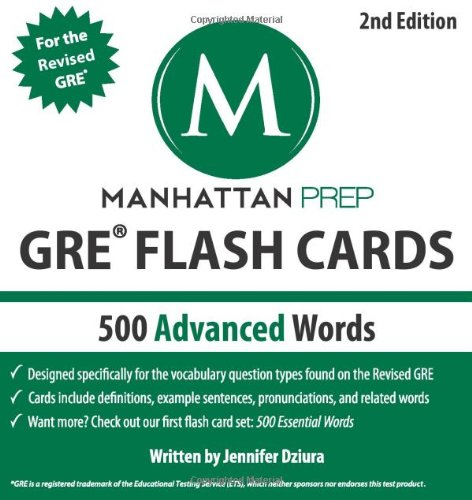 500 Advanced Words: GRE Vocabulary Flash Cards (Manhattan Prep GRE Strategy Guides) cover