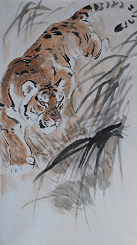 Jiangnanruyi Art Tiger Oridental Original Hand Painted Artwork Unframed Chinese Brush Ink and Wash Watercolor Painting Drawing Decorations Decor for Office Living Room Bedroom (24×12inch, Artwork-01)