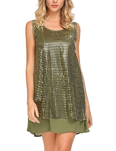 - Mofavor Women's Sleeveless Sparkle Shimmer Camisole Loose Glam Sequined Vest Tank Tops