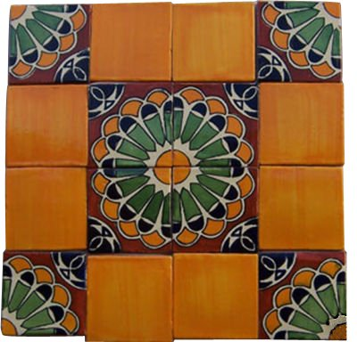 16 Hand Painted Talavera Mexican Tiles - Hand Painted Tiles 16 Ceramic