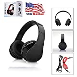 Bluetooth wireless wired multi-function headphones, can be connected to computers and mobile phones, sound quality, 30 hours of continuous playtime (black)