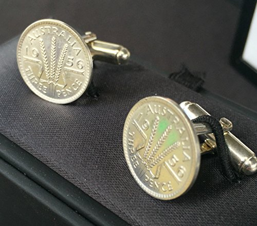 Choose the Year - AU Silver Threepence Sterling Silver Cuff links 1910 - 1964(1963 - 51 Years old)