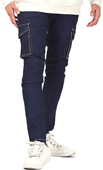 LUX STYLE(ラグスタイル) デニムパンツ メンズ カーゴパンツ スキニー ストレッチ