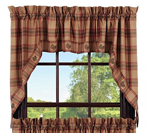 Olivia's Heartland Pinecone Swag Set Window Curtains Pair - 72x36 Total - 2 inch Rod Pocket ()