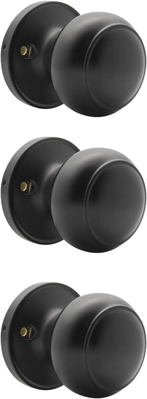 Probrico (3 Pack) Classic Closet Door Knobs Dummy Door Knob, Individual Non-Turning Dummy Door Knob Single Side, Black Interior Door Knobs, Easy Installation