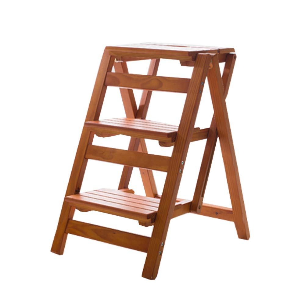 BJLWTQ 3 Steps Ladder Chair Stool Multifunction Wooden Foldable Shelving Ladder Step Stool Home Library,150kg Capacity (Walnut Colour) by BJLWTQ Step stool