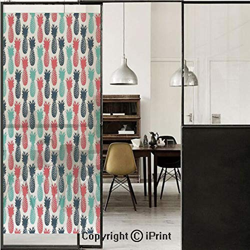 - Pineapple 3D Decorative Film Privacy Window Film No Glue,Frosted Film Decorative,Island Pineapple Tropical Fruit Pattern Stamped Minimal Backdrop Pop Art,for Home&Office,23.6x59Inch Salmon Blue Gray