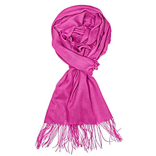 Silk Winter Neck Scarf - ZORESS Women Long Scarve Lightweight Rectangle Winter Infinity Scarf Silky Pashmina Wrap Scarves in Solid Colors (Rose)
