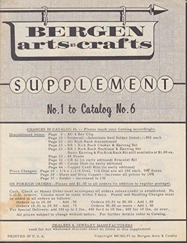 Bergen Arts & Crafts Catalog #6 Supplement #1 1956 w/ order -