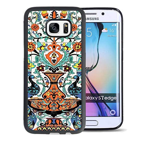 Cristin Tang Compatible with Samsung Galaxy S7 Edge Tire Hard PC Back Case Hand Painted Tile Mural Phone Cover Shockproof Anti-Slip Protective Case