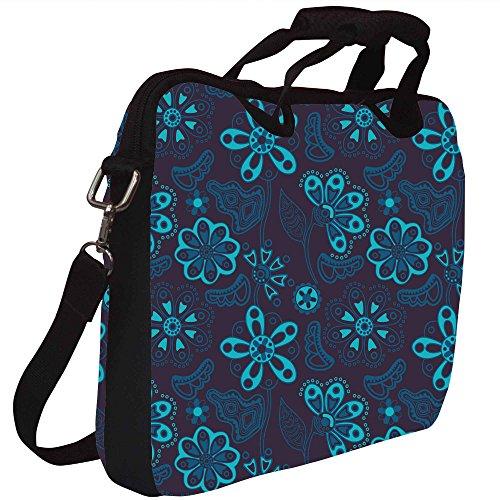 Snoogg Bunte Blumen nahtlose Muster im Cartoon-Stil nahtlose Muster Gedruckt Notebook-Tasche mit Schultergurt 13 bis 13,6 Zoll