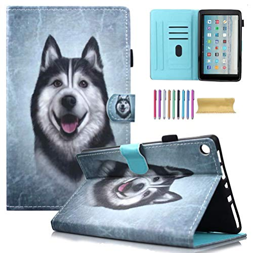 Fire HD 10 Case, AMotie Folio Leather Wallet Smart Cover w/Credit Card Slots & Auto Sleep Wake for All New Fire HD 10.1 inch Tablet (5th and 7th Generation, 2015 & 2017 Release), Husky