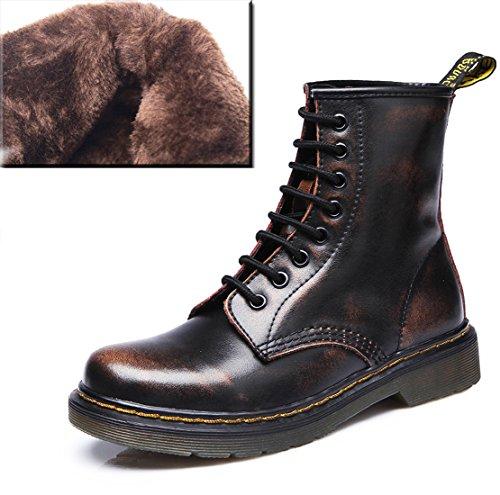 Kurzschaft Derby Bootsschuhe Winter Stiefel Boots Herren Pelzfutter Erwachsene Braun mit Damen für Honeystore Unisex Schnürhalbschuhe ASqtnXa