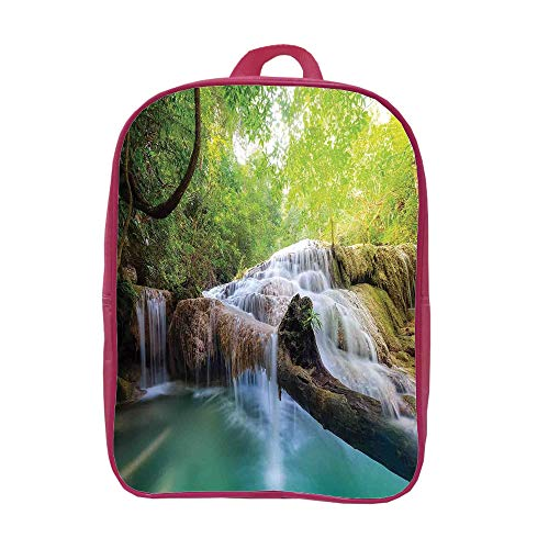 Children's knapsack Customizable,Waterfall,Landscape with Flowing Water of Erawan Cascade in Rain Forest,Light Green Turquoise Brown,Picture Print (Cascade Solar Water)