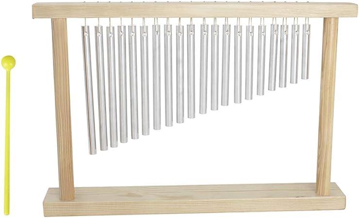 Muslady Mesa Top Bar Chimes 20 Tonos 20 Barras de Una Fila Instrumento de Percusión Musical con Palo de Soporte de Madera