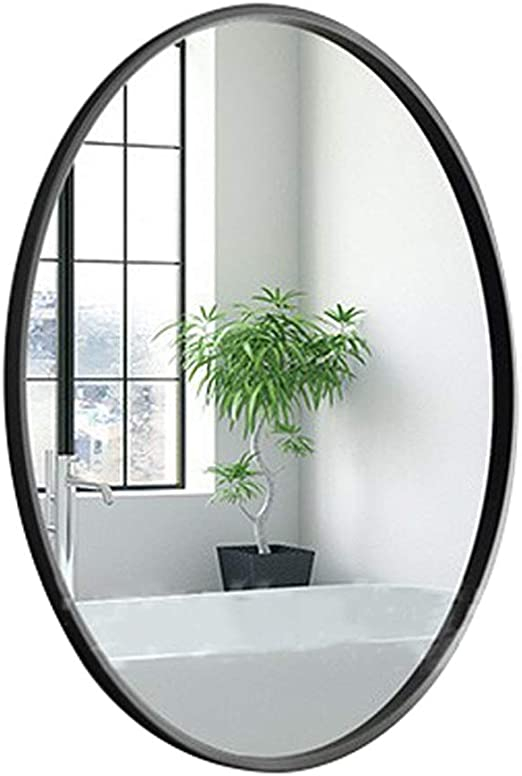 Amazon Com Fashion Wall Mirror Oval Vanity Mirror Dresser Mirror Black Metal Frame Hd Shaving Mirror For Entryways Living Rooms Bathroom Home Mirrors Decor Home Kitchen