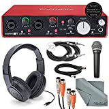 "Focusrite Scarlett 2i4 USB Audio Interface and Deluxe Accessory Bundle with MIDI Cable + XLR Cable + 2 ¼"" Cables + Samson Headphone + Samson Microphone + FiberTique Cleaning Cloth"