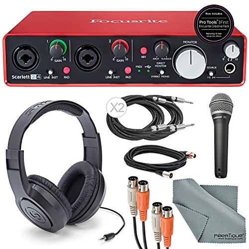 """Focusrite Scarlett 2i4 USB Audio Interface and Deluxe Accessory Bundle with MIDI Cable + XLR Cable + 2 ¼"""" Cables + Samson Headphone + Samson Microphone + FiberTique Cleaning ()"""