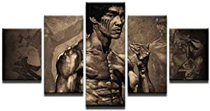 LHJF Paintings 5 Piece Canvas Printed Bruce Lee Poster Canvas Painting Pictures Home Decor for Living Room Wall Art Decoration Picture