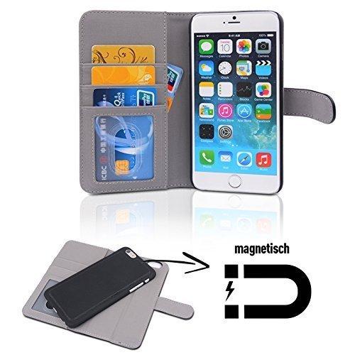 FINOO ® | Iphone 6 / 6S Plus 2-in-1 Premium Echt Lederhülle Bookstyle | Innere Schutz-Tasche herausnehmbar | Handy-hülle mit Magnetverschluss | Wallet Cover Flip-Case mit Kartenfächern und Standfunkti