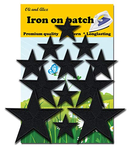 Iron On Patches - Black Star Patch 12 pcs Iron On Patch Embroidered Applique A-195 ()